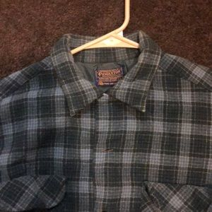 Pendleton Board Virgin Wool Blue Plaid Shirt